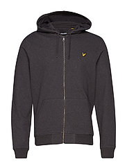 Zip Through Hoodie - CHARCOAL MARL