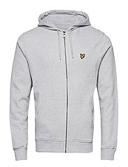 Zip Through Hoodie - LIGHT GREY MARL