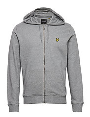Zip Through Hoodie - MID GREY MARL