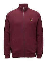 Funnel Neck Zip Through Sweatshirt - CLARET JUG