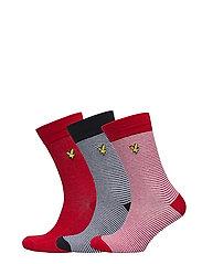 Fine Stripe / Plain Socks - 3 Pack - ASSORTED