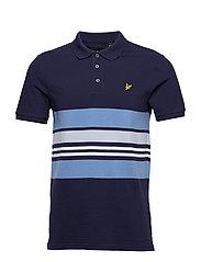 Pique Stripe Polo Shirt - NAVY