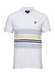 Pique Stripe Polo Shirt - WHITE