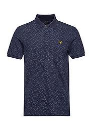 Print Polo Shirt - NAVY MICRO TILE PRINT