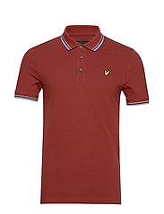 Tipped Slim Stretch Polo Shirt - BRICK RED/ BLUE DUST