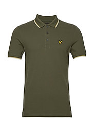 Tipped Slim Stretch Polo Shirt - OLIVE/ WHITE