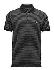 Mouline Stripe Polo Shirt - CHARCOAL MARL