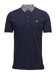 Check Woven Collar Polo Shirt - NAVY