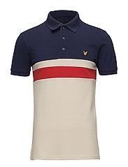 Yoke Stripe Polo Shirt - NAVY