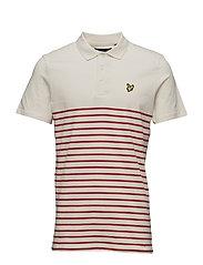 Breton Stripe Polo Shirt - TOMATO RED