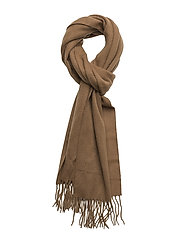 Plain lambswool scarf - CAMEL