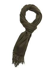 Plain lambswool scarf - WOODLAND GREEN
