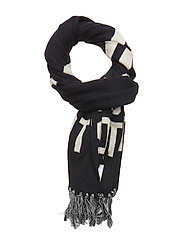 Knit Wording Scarf - DARK NAVY