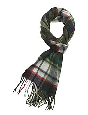 L&S Tartan Woven Scarf - NAVY/TOMATO RED