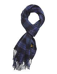 L&S Tartan Woven Scarf - INDIGO BLUE/NAVY