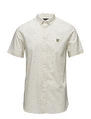 SS Micro Print Shirt - SEASHELL WHITE