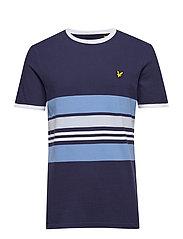 Pique Stripe Ringer T-shirt - NAVY