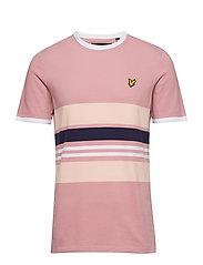 Pique Stripe Ringer T-shirt - PINK SHADOW