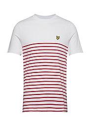 Breton Stripe T-Shirt - WHITE/ DARK RED