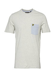 Contrast Pocket T Shirt - LIGHT GREY MARL/CLOUD BLUE