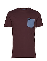 Contrast Pocket T Shirt - BERRY/STONE BLUE