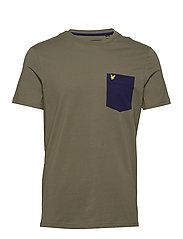 Contrast Pocket T Shirt - LICHEN GREEN/ NAVY