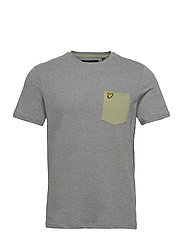 Contrast Pocket T Shirt - MID GREY MARL/ MOSS