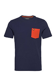 Contrast Pocket T Shirt - NAVY/ BURNT ORANGE