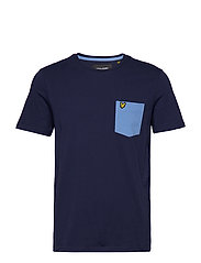 Contrast Pocket T Shirt - NAVY/CORNFLOWER BLUE