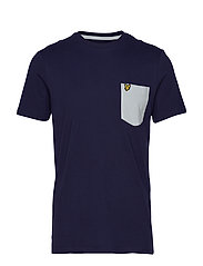 Contrast Pocket T Shirt - NAVY/LIGHT SILVER