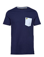 Contrast Pocket T Shirt - NAVY/ POOL BLUE