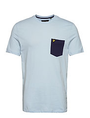 Contrast Pocket T Shirt - PASTEL BLUE/ NAVY