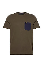 Contrast Pocket T Shirt - TREK GREEN/ NAVY