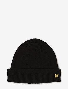 Racked rib beanie - bonnet - black