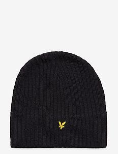 Knitted Ribbed Beanie - bonnet - dark navy