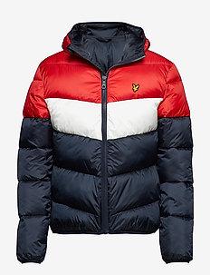 Colour Block Puffa Jacket - DARK NAVY