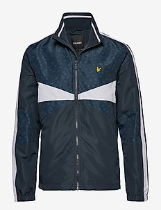 Colour Block Funnel Neck Jacket - DARK NAVY TILE PRINT