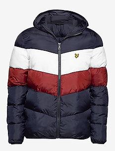 Colour Block Puffa Jacket - DARK NAVY/ BRICK RED