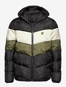 Colour Block Puffa Jacket - TRUE BLACK/OLIVE