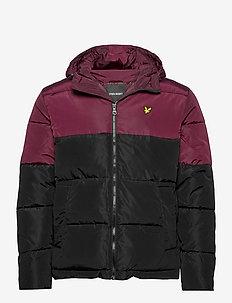 Colourblock Puffer Jacket - gefütterte jacken - jet black/ burgundy