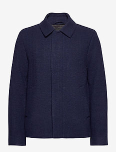 Herringbone Wool Jacket - uldjakker - dark navy/ indigo