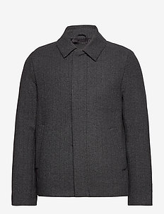 Herringbone Wool Jacket - wool jackets - jet black/ mid grey marl