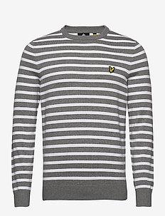 Breton Stripe Jumper - round necks - mid grey marl/ white
