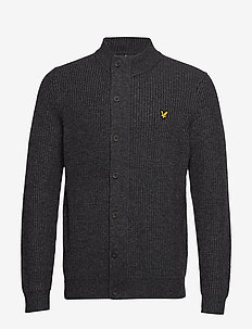 Knitted Zip Through Funnel Neck - CHARCOAL MARL
