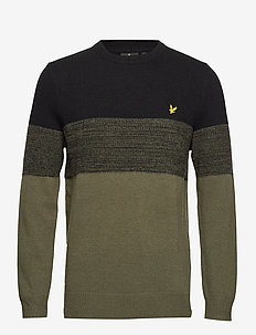 Chest Panel Knitted Jumper - TRUE BLACK/OLIVE