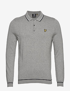 Knitted LS Polo - MID GREY MARL