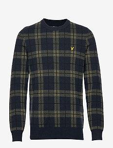 Check Knitted Jumper - DARK NAVY/OLIVE TARTAN
