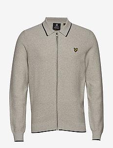 Knitted Tipped Zip Through - perusneuleet - light grey marl