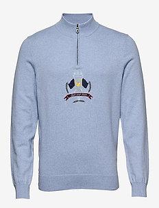 Crest 1/4 Zip Knitted Jumper - half zip jumpers - pool blue marl