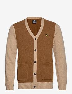 Contrast Knitted Cardigan - cardigans - caramel marl/ sand storm marl